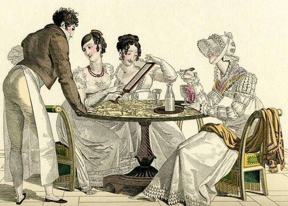 Dame gustano sorbetti in un caffè del primo Ottocento