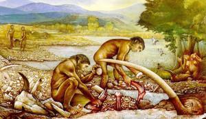 Ricostruzione grafica di una scena di vita quotidiana nell'insediamento paleolitico - Ph. Soprintendenza per i Beni Archeologici del Molise