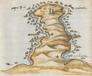 1. Il Capo delle Colonne in una illustrazione del Codice Romano-Carratelli, XVI sec. In basso a destra si nota l'insenatura di Scifo