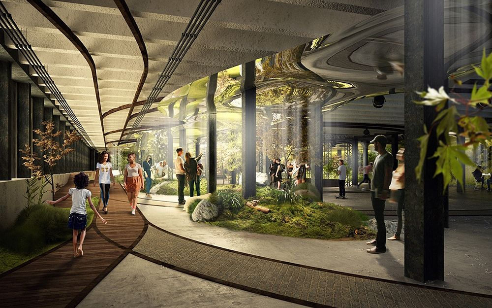 Scorcio del parco sotterraneo progettato da Dan Barash e James Ramsey - Ph. Raad Studio