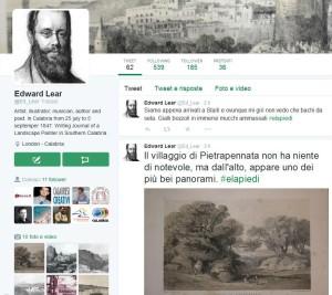 "Sreenshot del profilo Twitter di ""Edward Lear"""