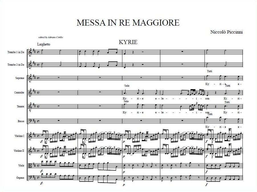 Dettaglio del Kyrie dalla Messa in re Maggiore di Niccolò Piccinni, nella revisione del M° Adriano Cirillo