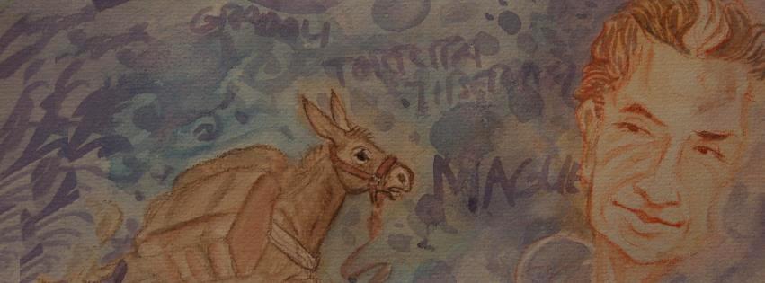 L'asino Gamin e lo statista Aldo Moro, due dei protagonisti del viaggio-pellegrinaggio di Diana Kennedy, in un suo disegno