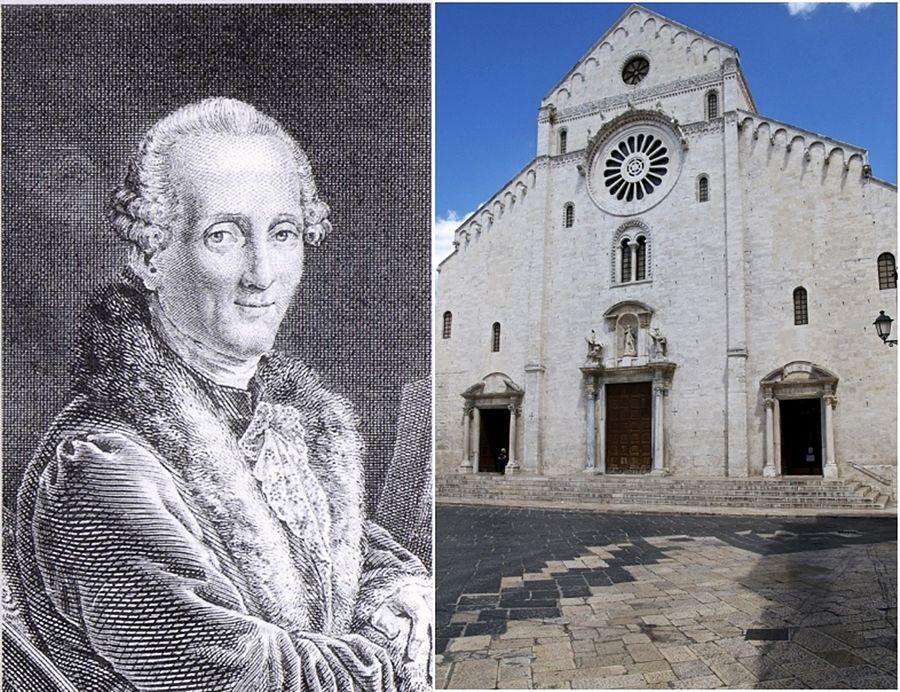 Il compositore barese Niccolò Piccinni (1728-1800) in una incisione d'epoca e la facciata della Cattedrale di S. Sabino a Bari, XII-XIII sec. | Ph. Ferruccio Cornicello