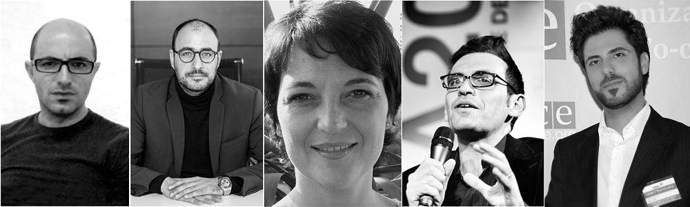 Cinque degli speakers del TEDx Bari, tutti del Sud: Emilio Leo, Angelo Petrosillo, Luisa Tursi, Nicola Lagioia, Aldo Pecora