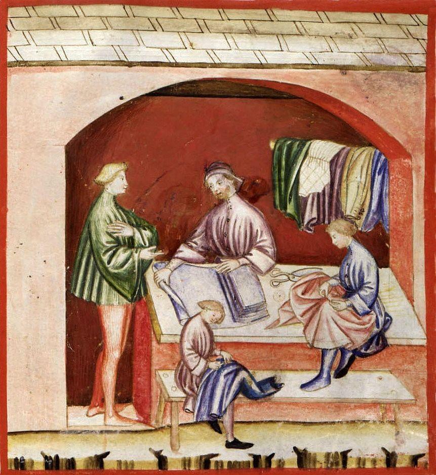 Trattamento di abiti in seta, Tacuinum Sanitatis, XIV sec.