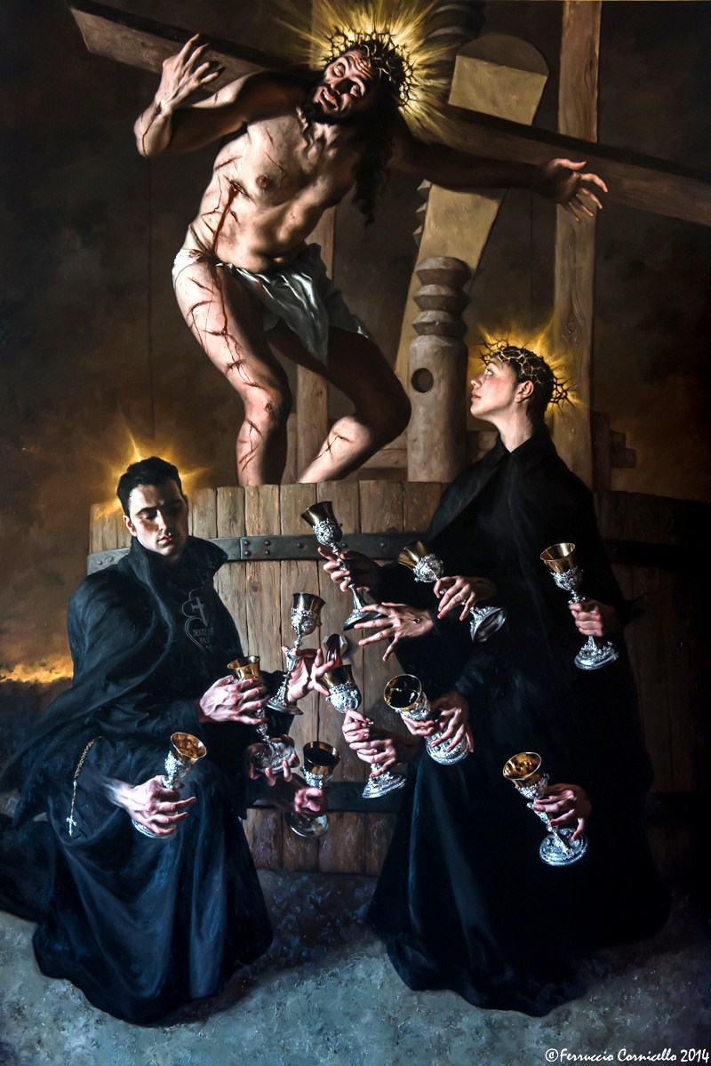 Giovanni Gasparro - Torchio mistico con San Gabriele dell'Addolorata e Santa Gemma Galgani – Ph. © Ferruccio Cornicello