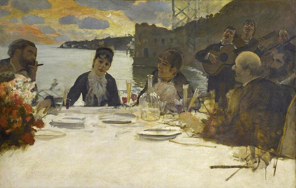 Giuseppe De Nittis, Pranzo a Posillipo, 1879 -  Milano, GAM (Galleria d'arte moderna), Raccolta Grassi