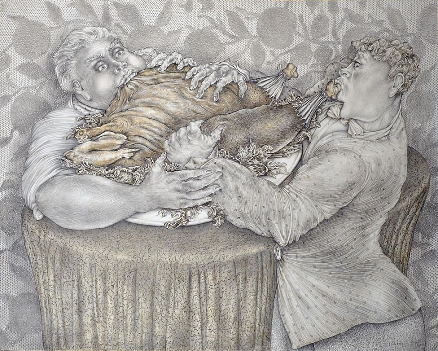 Momò Calascibetta - La fame, disegno a matita, 2002