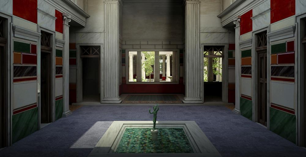 Ricostruzione virtuale dell'atrium della Casa del Fauno, Pompei