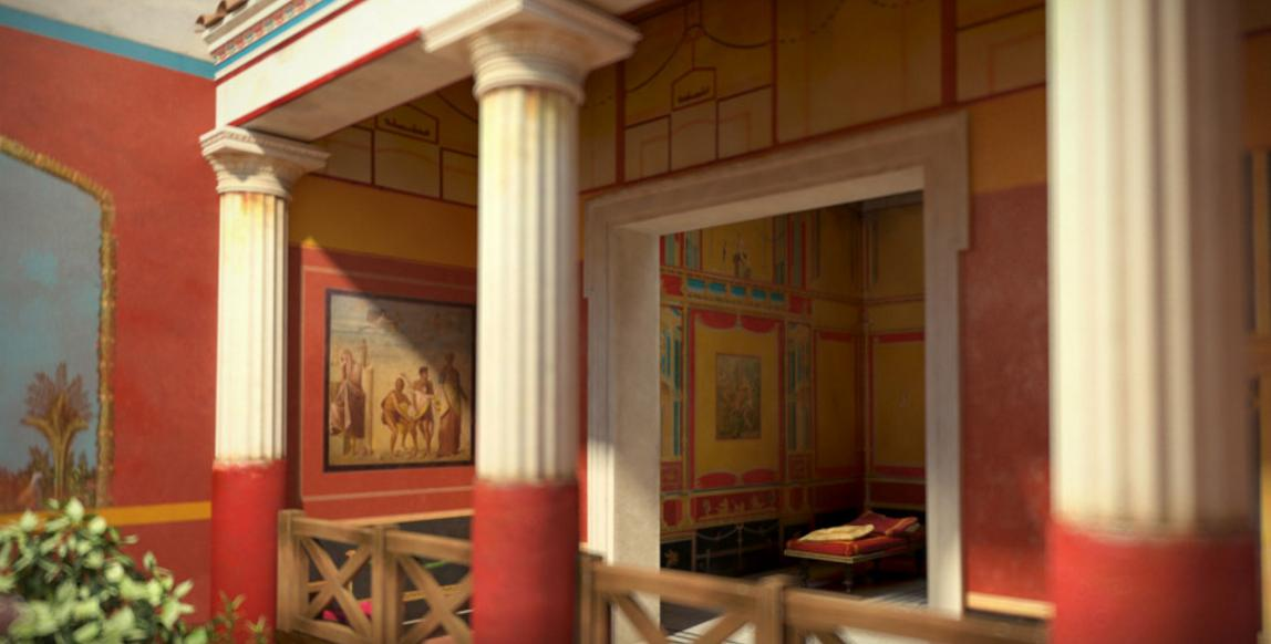 Scorcio di villa pompeiana (riscostruzione in 3D)