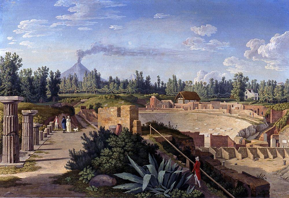 """L'Italia ai tempi del Grand Tour: """"Veduta del Teatro Grande di Pompei"""" di Jakob Philipp Hackert, 1793"""