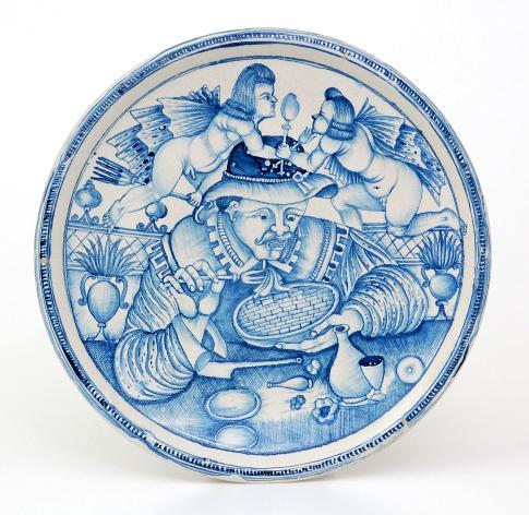 Piatto in maiolica con il 'Mangiamaccheroni', manifattura di Laterza, XVIIsec., Faenza
