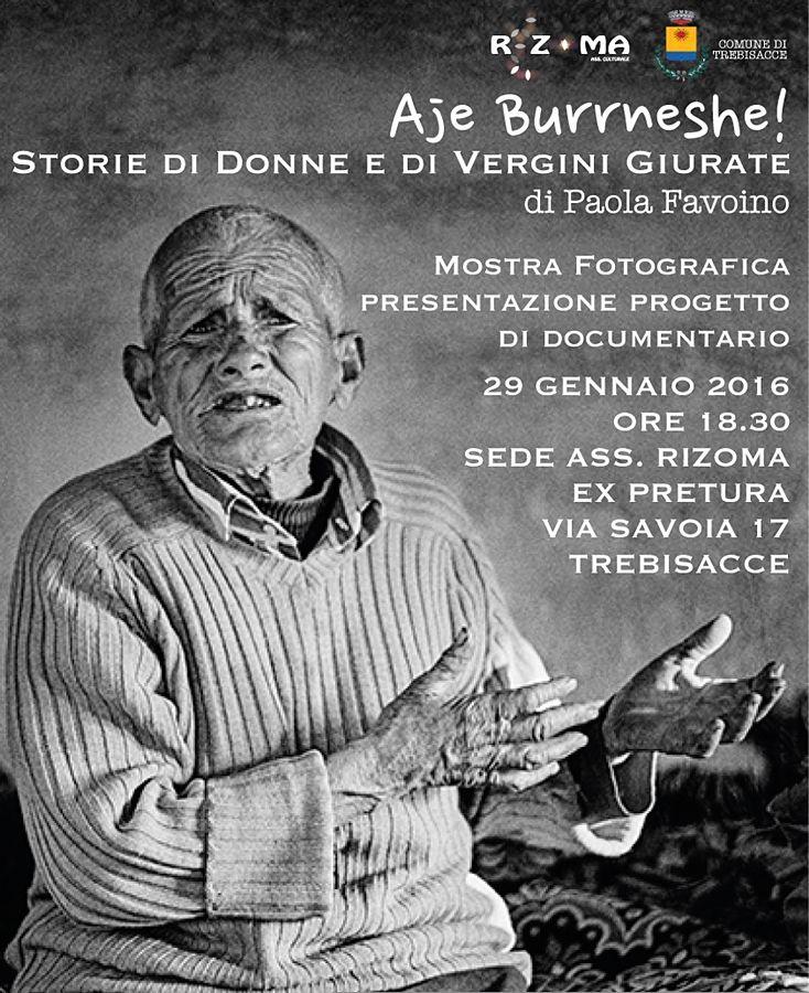 Aje Burrneshe! | Il manifesto della mostra (Trebisacce 29-31 gennaio)