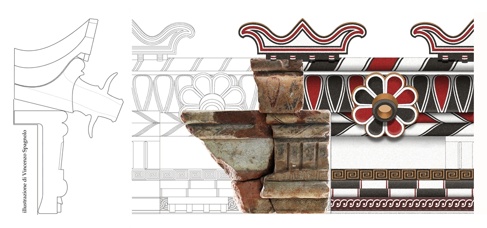 9. Rielaborazione, curata da Vincenzo Spagnolo, di un lembo del rivestimento in terracotta policroma del tetto di un edificio del santuario in loc. Manca della Vozza
