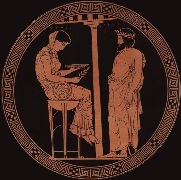 Sacerdotessa sul tripode: scena di oracolo su una kylix attica a figure rosse del 440-430 a.C., Altes Museum, Berlino