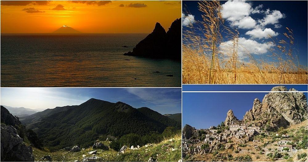 Paesaggi di Calabria. Dall'alto, in senso orario: vista su Stromboli dalla Costa degli Dei (Ph. Marco Lazzaroni); campo estivo (Ph. Marco Lazzaroni); il borgo di Pentedattilo (Maria Grazia Montagnari); Parco Nazionale del Pollino (Ph. Brian Gratwicke)   CCBY2.0