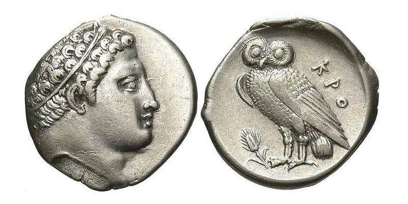 Moneta in argento di Kroton con profilo del dio Esaro e civetta