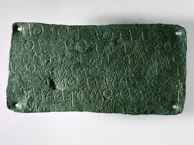 Lamina in bronzo con dedica ad Atena dell'atleta Kleombrothos, VI sec. a.C., Timpone della Motta, Museo della Sibaritide