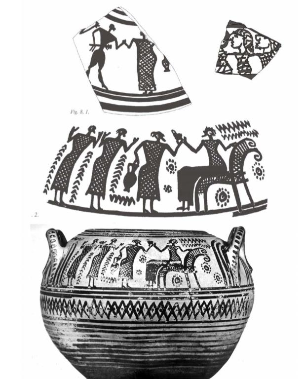 La cosiddetta Pisside del Canton Ticino, con scena di offerta dell'acqua alla dea Atena, VII sec. a.C. - Ph. Museum Francavilla