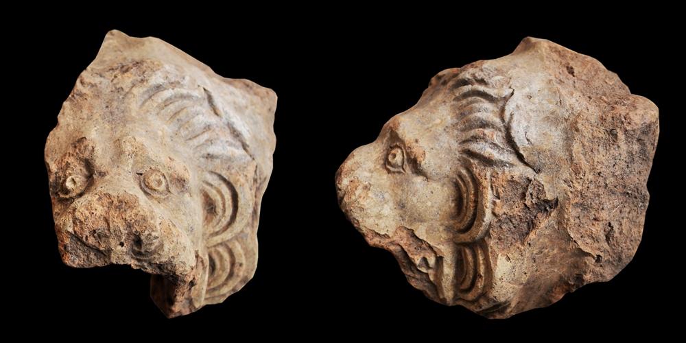 Gocciolatoio a protome leonina del tempio di Pietravairano (Ce) - Ph. Università del Salento, Lecce