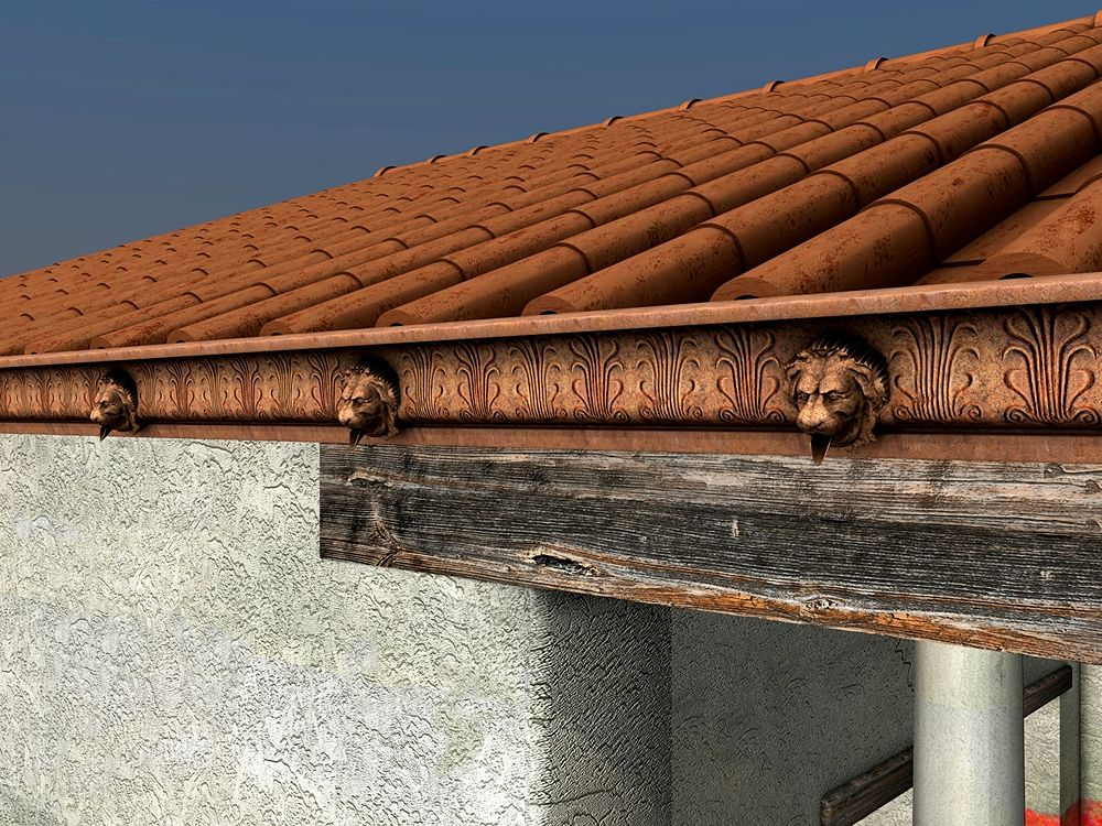 Pietravairano: ipotesi ricostruttiva della decorazione architettonica del Tempio - Elaborazione grafica: Daria Panariti per Università del Salento, Lecce