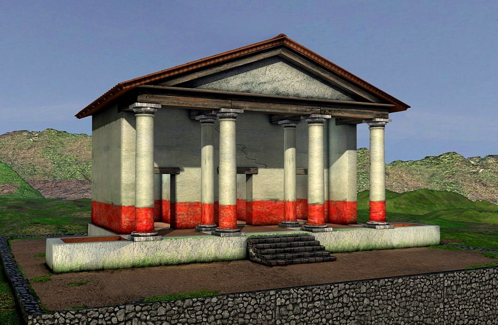 Ipotesi ricostruttiva del Tempio di Pietravairano (Caserta) - Elaborazione grafica: Dario Panariti per Università del Salento