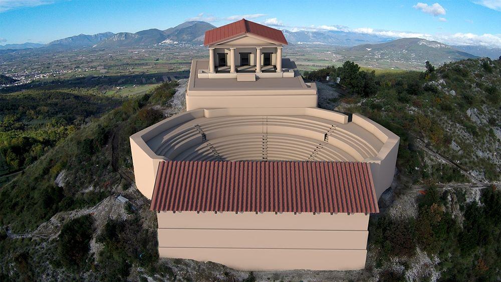 Proposta ricostruttiva del Teatro-Tempio vista dall'alto - Ph. Università del Salento, Lecce