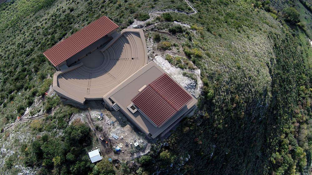 Proposta ricostruttiva del Teatro-Tempio di Pietravairano - Elaborazione grafica: Dario Panariti per Università del Salento, Lecce