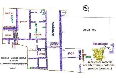 Planimetria degli scavi nella zona della Curva Nord