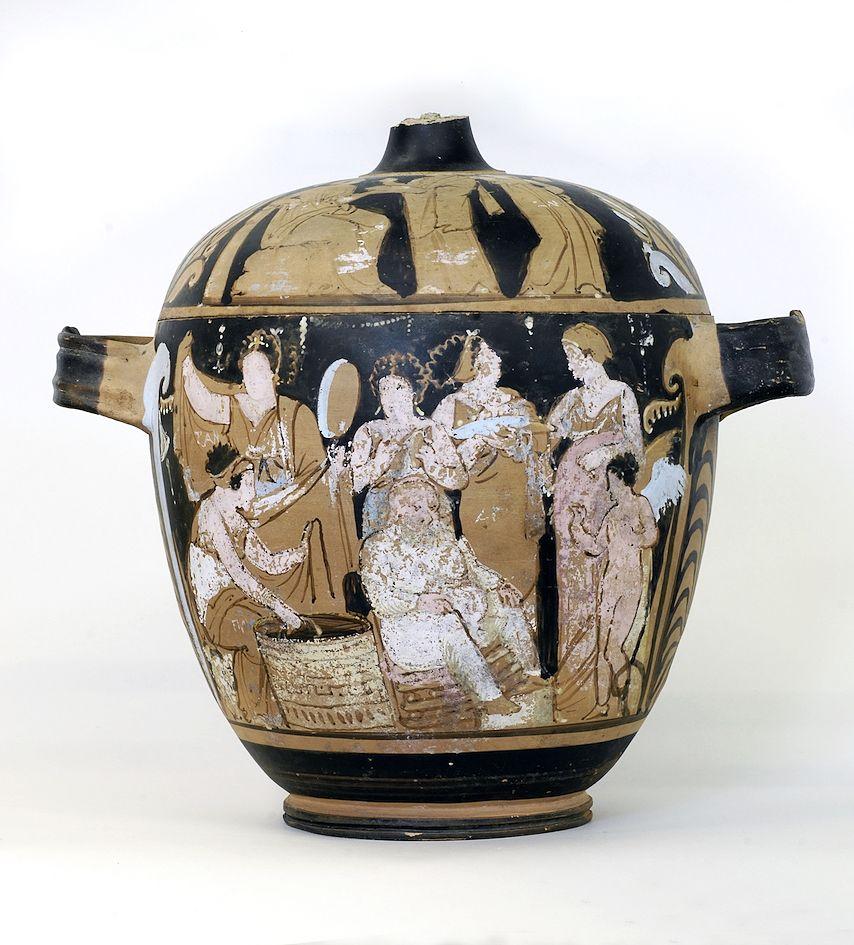 """Scena femminile sul cosiddetto Cofanetto di Falcone, Museo Archeologico Regionale """"Antonio Salinas"""", Palermo"""