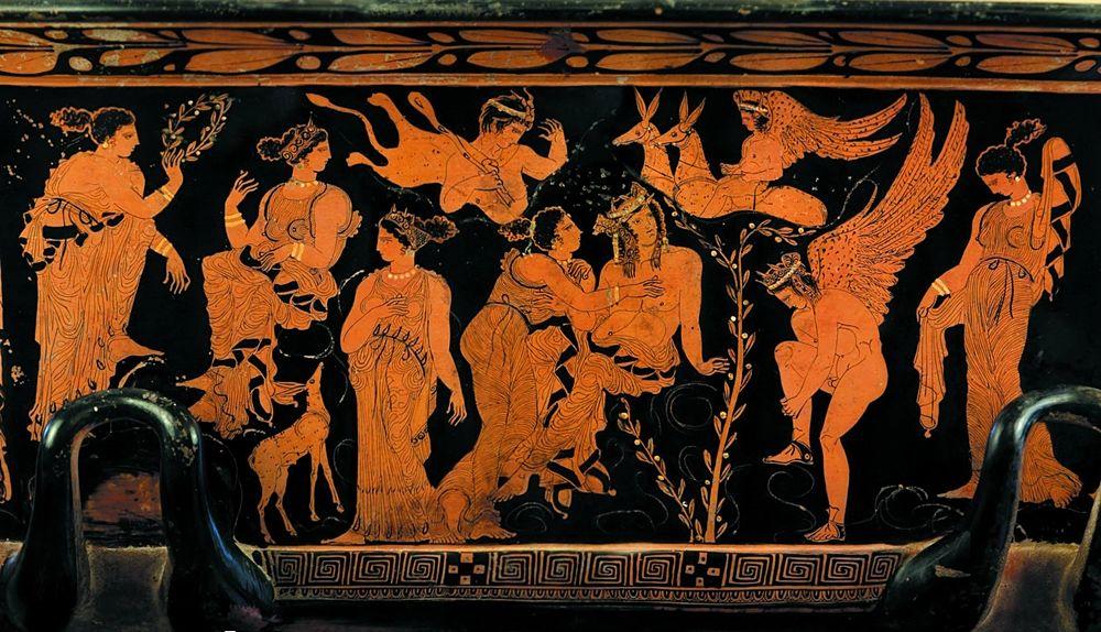 Part. di vaso con scena raffigurante iil mito di Faone, V° sec. a.C., Museo Salinas, Palermo