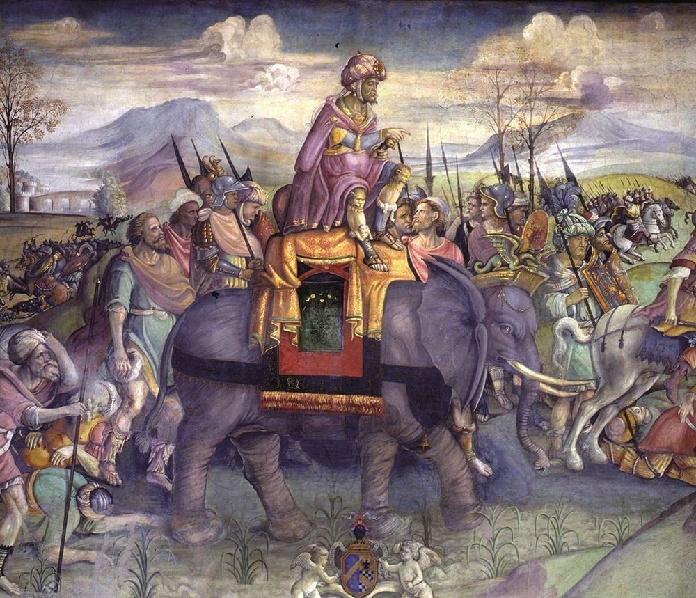 Annibale sulle Alpi, particolare da un affresco del 1510 circa esposto ai Musei Capitolini