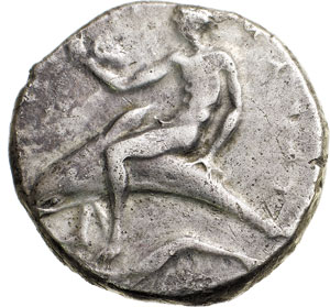 Phalantos sul delfino, moneta magnogreca di Taranto