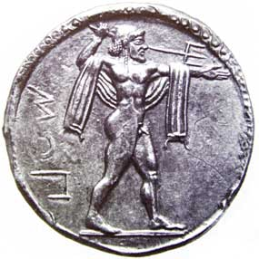 Poseidone su una moneta di Paestum (Poseidonia)
