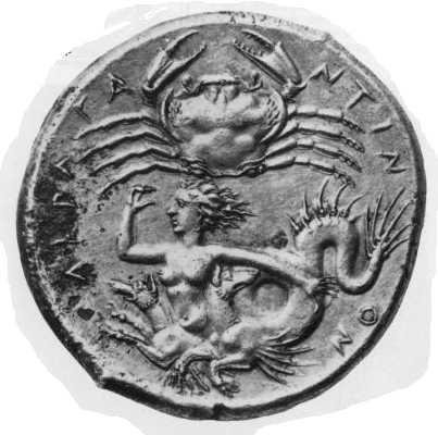 La ninfa-mostro Scilla su un'antica moneta greca del IV sec. a.C.