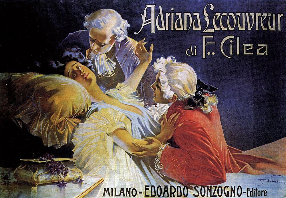 Manifesto originale dell'Adriana Lecouvreur ideato da Aleardo Villa nel 1902