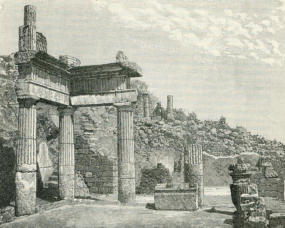 Solunto, ruderi del Tempio di Giove in un'incisione di Giuseppe Barberis, 1892