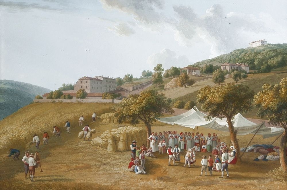 J. P. Hackert, Mietitura a San Leucio, 1782, Palazzo Reale di Caserta, Studiolo di Ferdinando IV