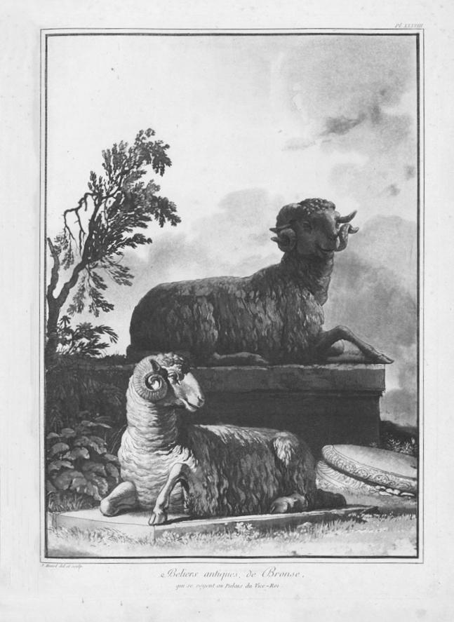 La coppia di arieti di Siracusa in una incisione di Jean-Pierre Houël, Voyage Pittoresque, 1777