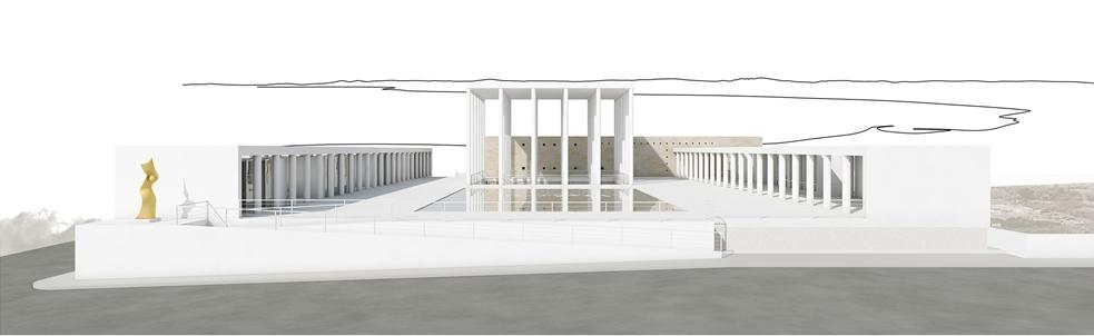 A sin. nel fotorender la scultura d'arte contemporanea realizzata da Enrico Pata in omaggio a Mnemosyne