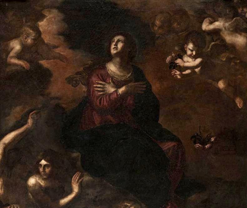Particolare dell'Assunta del Guercino individuata ad Aversa, XVII sec.