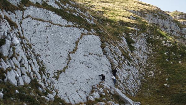 La parete calcarea  a 1900 m di quota sul Monte Cagno, luogo del ritrovamento delle orme di dinosauri - Ph. INGV