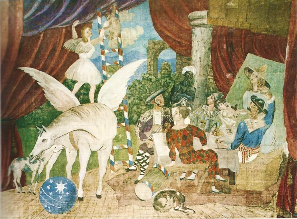 """Pablo Picasso, Il sipario per il balletto """"Parade"""", m. 17x10, Centre George Pompidou, Parigi"""