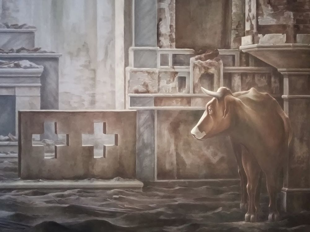 Domenico Fazzari_80mq di silenzio_2017_tecnica mista e terre su tela di cotone_m 10x8_dettaglio_2_opt