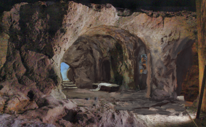 Il Santo Sepolcro ricostruito in cartapesta dall'artista Francesca Cascione su ideazione e progetto del maestro Francesco Artese