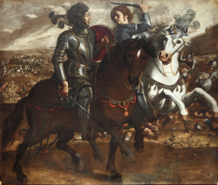 Paolo D. Finoglio, Clorinda si scontra con Tancredi, 1640, Pinacoteca Comunale di Conversano