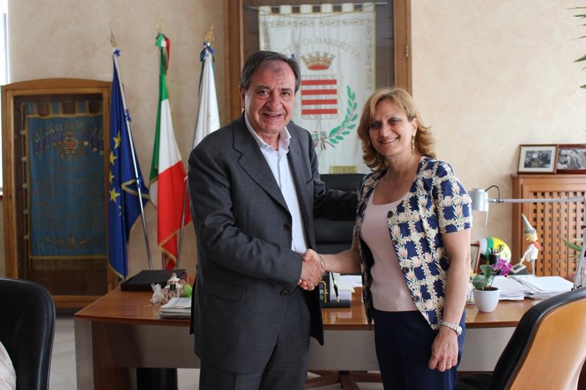 Pasquale Cascella, sindaco di Barletta, e Noemi Di Segni, presidente dell'Unione delle Comunità Ebraiche Italiane (UCEI) -© Fondazione ILMC Ph. Luciana Doronzo