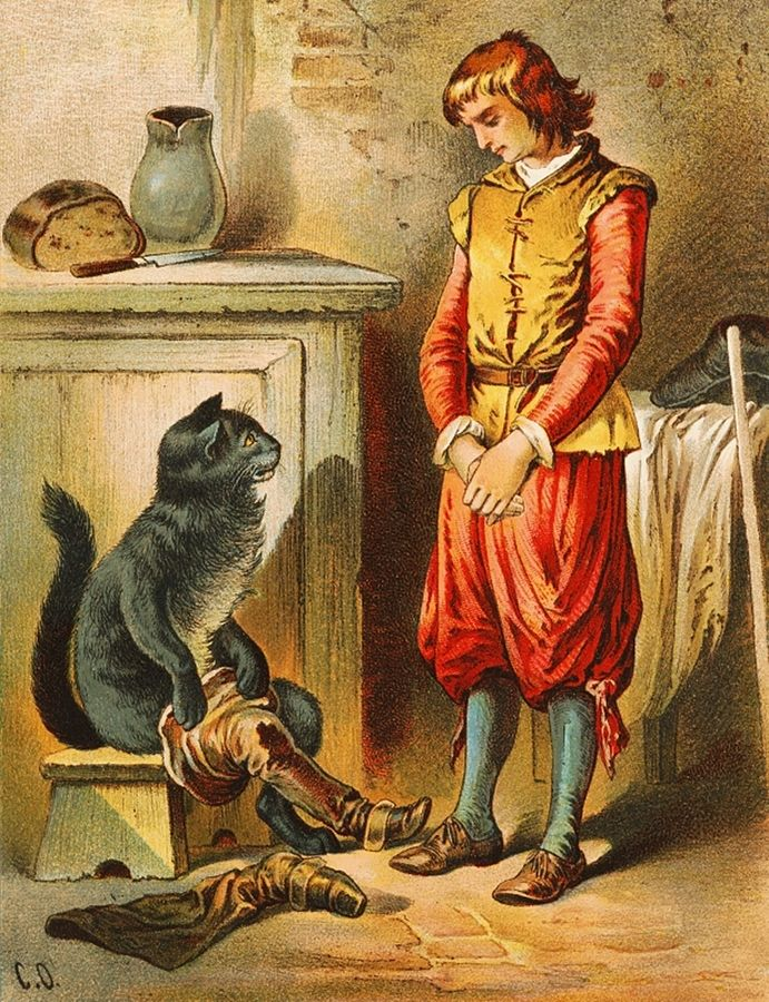 Il Gatto con gli Stivali in una illustrazione ottocentesca di Carl Offterdinger
