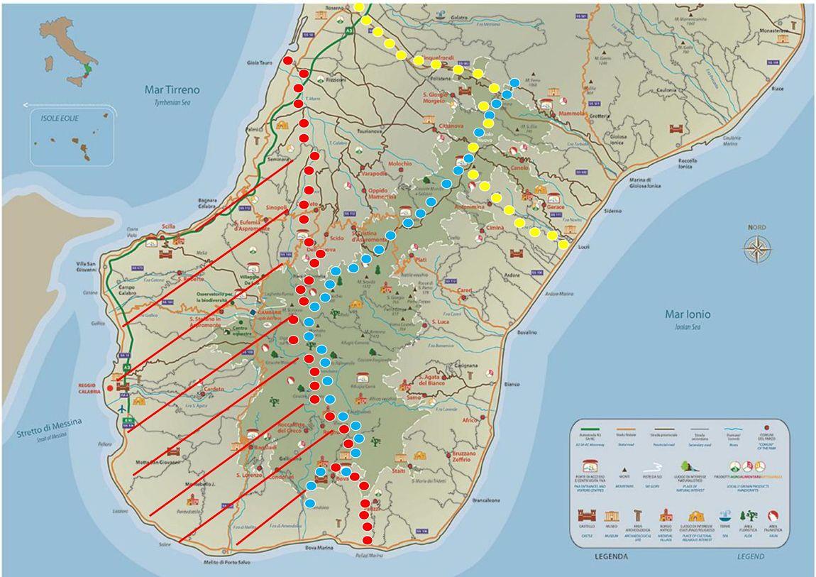 Infografica che segnala i percorsi contrassegnati dalla presenza di fortini magno-greci - Elaborazione Lino Licari ©
